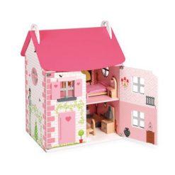 Drewniany domek dla lalek z meblami - zabawki drewniane dla dzieci | ZabawkiRozwojowe.pl