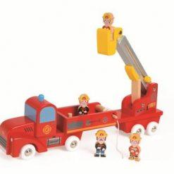 Drewniana straż pożarna z 4 postaciami | ZabawkiRozwojowe.pl