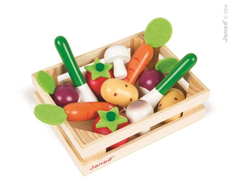 Drewniane warzywa w skrzyneczce