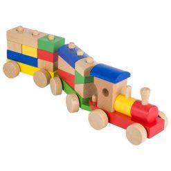Pociąg drewniany z klockami dla dzieci | ZabawkiRozwojowe.pl