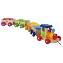 Drewniany kolorowych pociąg z klockami Filadelfia dla dzieci | ZabawkiRozwojowe.pl