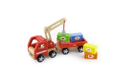Ciężarówka z dźwigiem i przyczepą