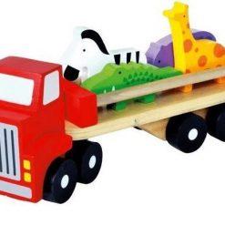 Drewniana ciężarówka ze zwierzętami | ZabawkiRozwojowe.pl