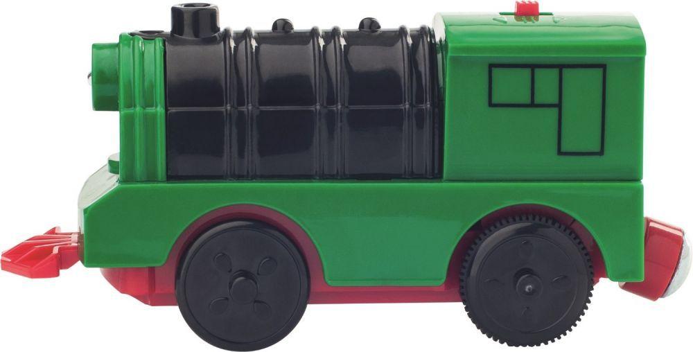 Drewniana kolejka z lokomotywą na baterie