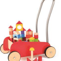 Czerwony wózek Pchacz z klockami