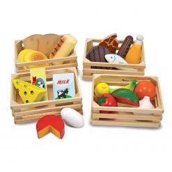 Jedzenie drewniane w skrzynkach