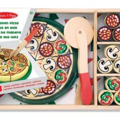 Drewniana pizza do krojenia i układania