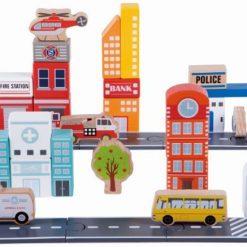 Drewniane klocki do układania Miasto | ZabawkiRozwojowe.pl - kreatywne zabawki dla dzieci