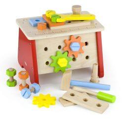 Drewniany warsztat i skrzynka z narzędziami 2w1 | ZabawkiRozwojowe.pl