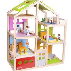 Drewniany domek dla lalek Szczęśliwa Willa | ZabawkiRozwojowe.pl