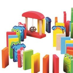 Drewniane klocki domino Zwierzaki