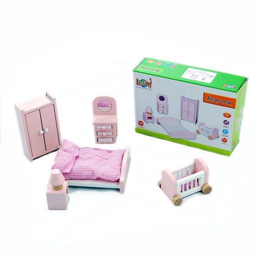 Drewniane mebelki dla lalek: Sypialnia