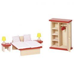 Drewniane mebelki do sypialni domku dla lalek | ZabawkiRozwojowe.pl