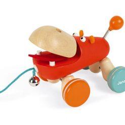 Drewniany hipopotam na sznurku