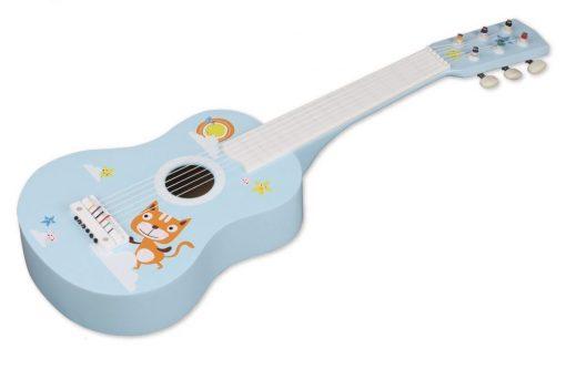 Drewniana gitara sześciostrunowa z kotkiem | ZabawkiRozwojowe.pl