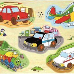 Drewniane puzzle dźwiękowe Pojazdy