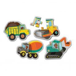 Puzzle sensorycze Pojazdy na budowie