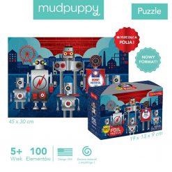 Puzzle z błyszczącą folią Roboty