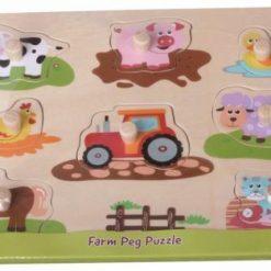 Układanka Przyjaciele z farmy i traktor, Lelin, 1+