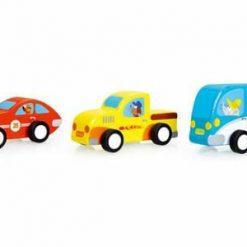 Zestaw trzech samochodzików Pull