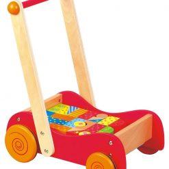 Drewniany wózek-pchacz z klockami