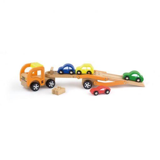 Drewniana laweta z samochodzikami