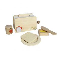 Drewniany toster z akcesoriami