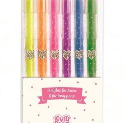 6 długopisów żelowych neonowych