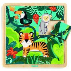 Edukacyjne puzzle drewniane Dżungla