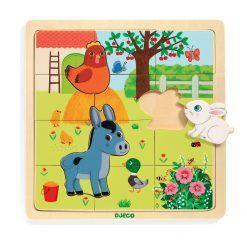 Edukacyjne puzzle drewniane Farma