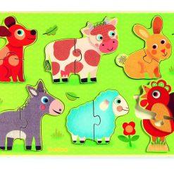 Puzzle drewniane dwuelementowe Zwierzęta z łąki