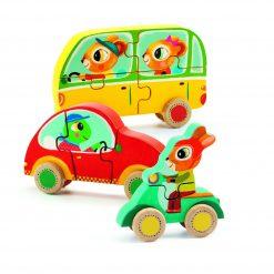 Drewniane puzzle samochody Jako & Co