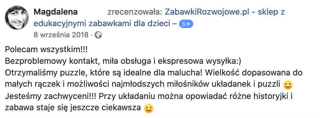 Dobra opinia o zabawkirozwojowe.pl