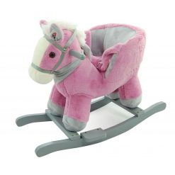 Konik różowo-szary z fotelikiem