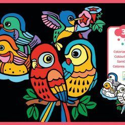 Welurowa kolorowanka Małe ptaszki
