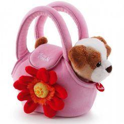 Piesek w różowej torebce z kwiatkiem
