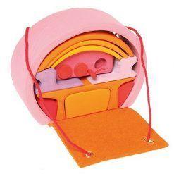 Dom mobilny różowo-pomarańczowy