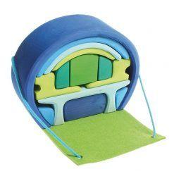 Dom mobilny niebiesko-zielony