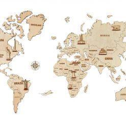Mapa Świata 3D – drewniane puzzle dekoracja ścienna