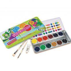Farby 12 Kolorów Plus Biała i Pędzle