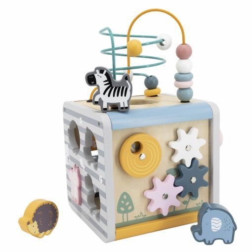 Activity Box Drewniane Edukacyjne Centrum Gier 5w1 kostka PolarB