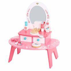 Różowa Toaletka Drewniana Do Makijażu z Lustrem